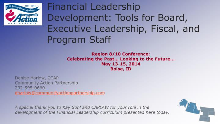 financial leadership development tools for board executive leadership fiscal and program staff n.