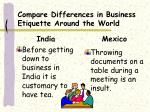compare differences in business etiquette around the world1