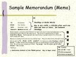 sample memorandum memo
