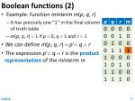 boolean functions 2