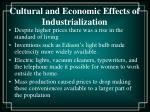 cultural and economic effects of industrialization