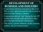 development of business and industry