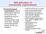 nih definition of community organizations