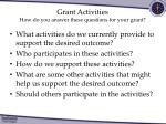 grant activities how do you answer these questions for your grant