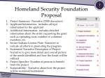 homeland security foundation proposal