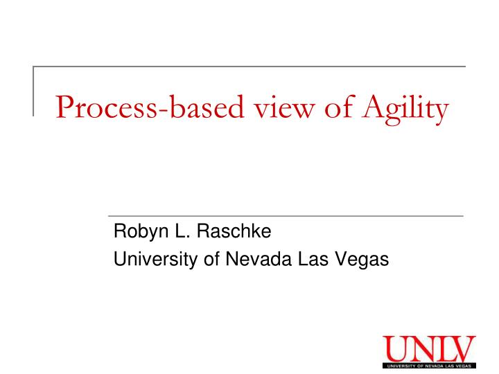 process based view of agility n.