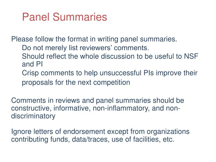 Panel Summaries