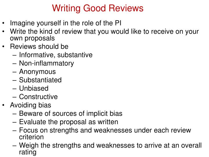 Writing Good Reviews