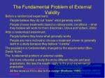the fundamental problem of external validity