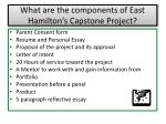 what are the components of east hamilton s capstone project