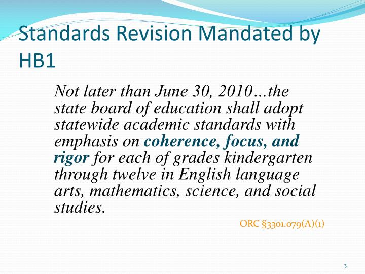 Standards revision mandated by hb1