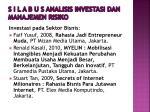 s i l a b u s analisis investasi dan manajemen risiko12