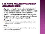 s i l a b u s analisis investasi dan manajemen risiko2