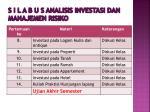 s i l a b u s analisis investasi dan manajemen risiko5