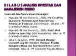 s i l a b u s analisis investasi dan manajemen risiko6