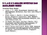 s i l a b u s analisis investasi dan manajemen risiko9