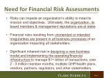 need for financial risk assessments