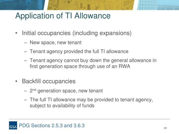 Application of TI Allowance
