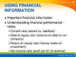 using financial information