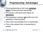 proprietorship advantages
