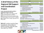 a brief history of the regional dm support and coordination project