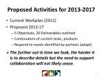 proposed activities for 2013 2017