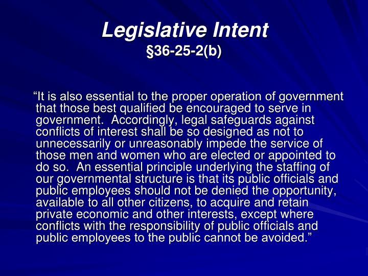 Legislative Intent