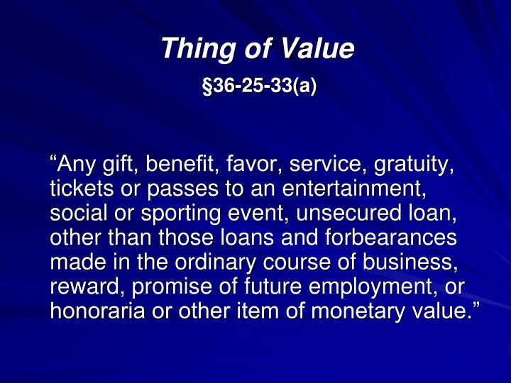 Thing of Value
