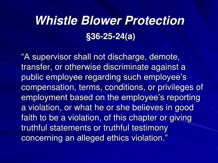 Whistle Blower Protection