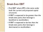 break even ebit