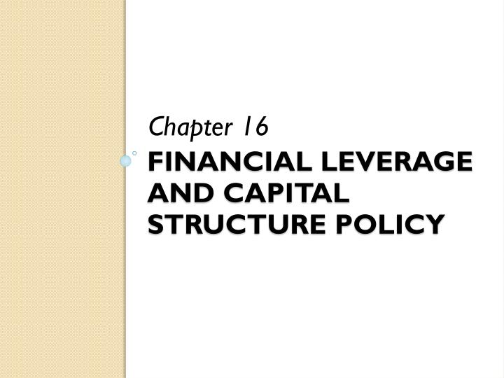 financial leverage and capital structure policy n.