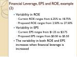 financial leverage eps and roe example 2
