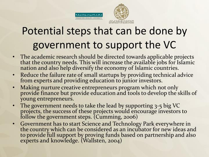 Potential steps that can be done by government to support the VC