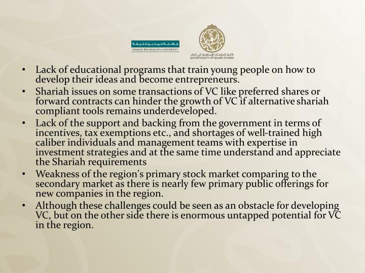 Lack of educational programs that train young people on how to develop their ideas and become entrepreneurs.