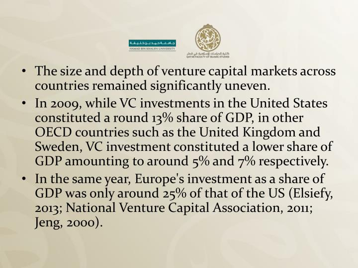 The size and depth of venture capital markets across countries remained significantly uneven.