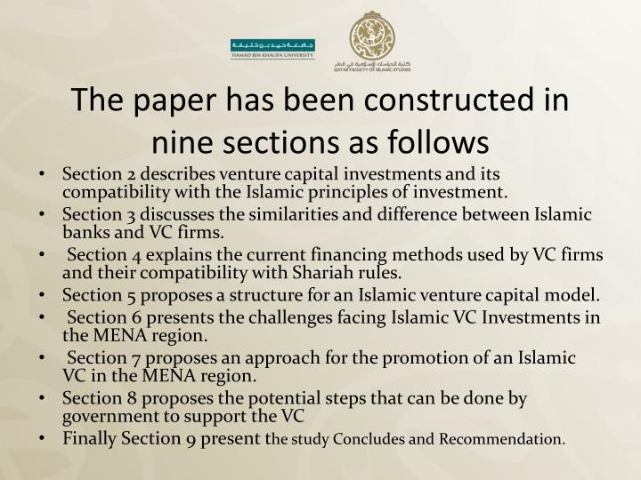 The paper has been constructed in nine sections as follows