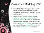 class based modeling crc