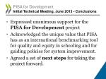 pisa for development initial technical meeting june 2013 conclusions