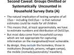 second caveat groups omitted or systematically uncounted in household survey data a