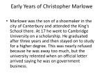 early years of christopher marlowe