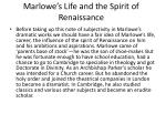 marlowe s life and the spirit of renaissance