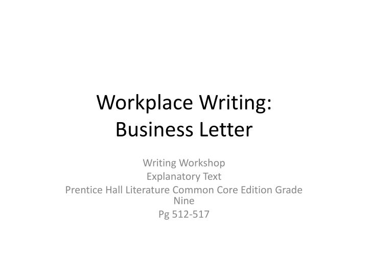workplace writing business letter n.