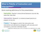 what is fidelity of instruction and intervention