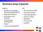 business areas impacted