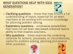 what questions help with idea generation
