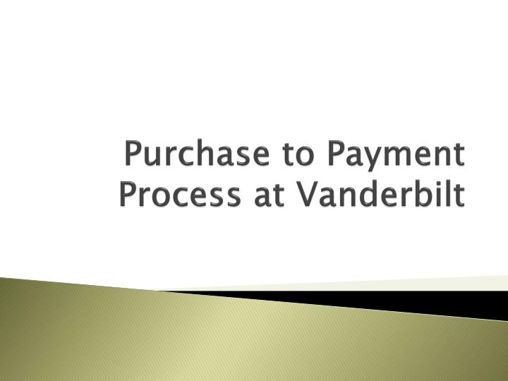 purchase to payment process at vanderbilt n.