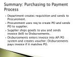 summary purchasing to payment process
