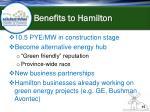 benefits to hamilton