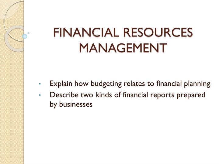 financial resources management n.