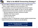 what is the mgue overarching strategy